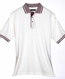 Adult White-Body Pique Classic Polo with Multi-Stripe Trim