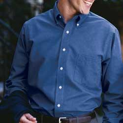 Men's Long Sleeve Wrinkle-Resistant Blended Pinpoint Oxford