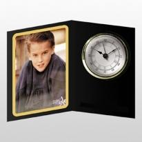 Open Book Picture Frame Clock With Black Background Shown