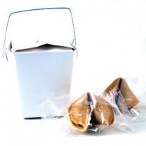White Carry-Out Container With 2 Fortune Cookies