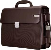 Parma Dark Brown Leather/Twill Nylon Briefcase