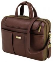 Catania Brown Napa Leather/Canvas Briefcase