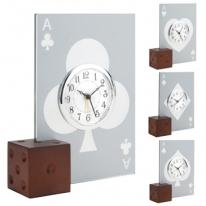Cards Alarm Clock W/Wooden Dice Base Casino Glass Clock