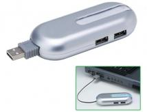 4-Port USB Hub With Retractable Cord