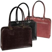 Women's Croco Laptop Briefcase - Croco Cowhide 4 Lbs. 1 oz.