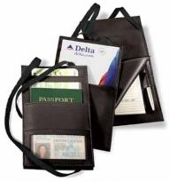 7.2 oz. Synthetic Leather - Hanging Travel Document Holder