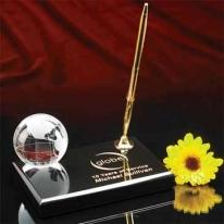 "2"" Optical Crystal Globe On Marble Base With Pen"