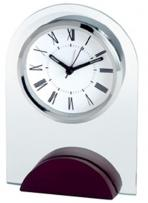 Arched Glass Alarm Clock With Wooden Base