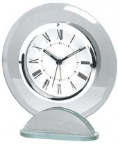 Round Silver & Glass Alarm Clock
