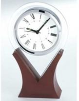 Glass Alarm Clock On Wood Base