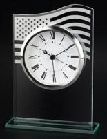 American Flag Accented Glass Alarm Clock