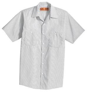 Short Sleeve Striped Industrial Work Shirt