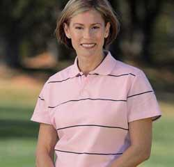 Ladies Horizontal Stripe Quick Dry Sport Shirt
