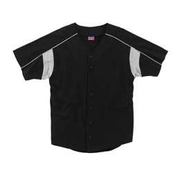 Pieced Baseball Jersey Full Button Front with Contrast Underarm Piecing