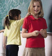 Girls' Short Sleeve Interlock Picot Polo Plus Sizes