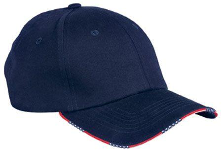 Twill Cap with Patriotic Sandwich Bill