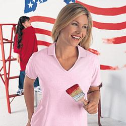 Women's Y-Neck Johnny Collar Jersey Golf Shirt