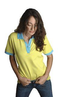 Ladies' Interlock Contrast Stripe Short-Sleeve Sport Shirt