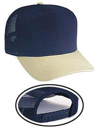 Cotton Blend Twill Five Panel Mid Profile Style Mesh Back Trucker Caps