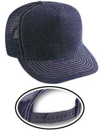Denim 5 Panel Mid-Profile Contrast Stitching Mesh Back Trucker Hat