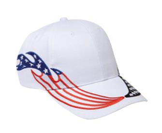 United States Flag Racing Flame Pattern Brushed Cotton Twill Low Profile Pro Style Caps