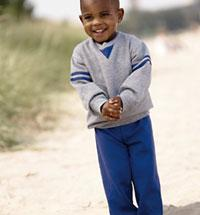 Toddler Crewneck Sweatshirt with Contrast V-Notch and Striped on Arms